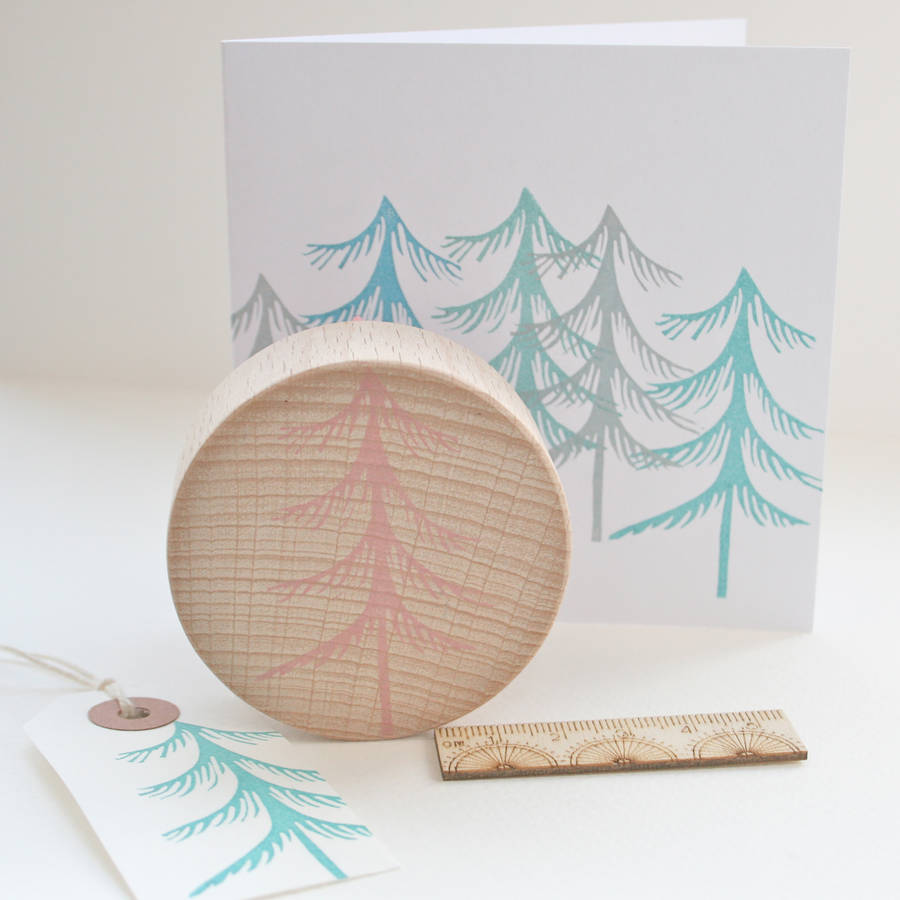 Winter tree hand carved rubber stamp by little store