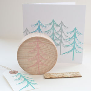 Winter Tree Hand Carved Rubber Stamp
