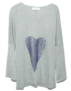 Heather Heart Silver Sand Tunic - tops