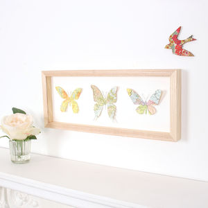 Trio Of Vintage Map Butterflies