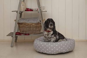 Grey Spotty Donut Bed With Removable Cushion - dogs