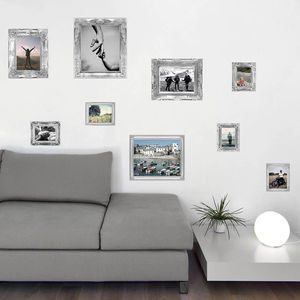 Silver Floral Photo Frames Wall Stickers - wall stickers