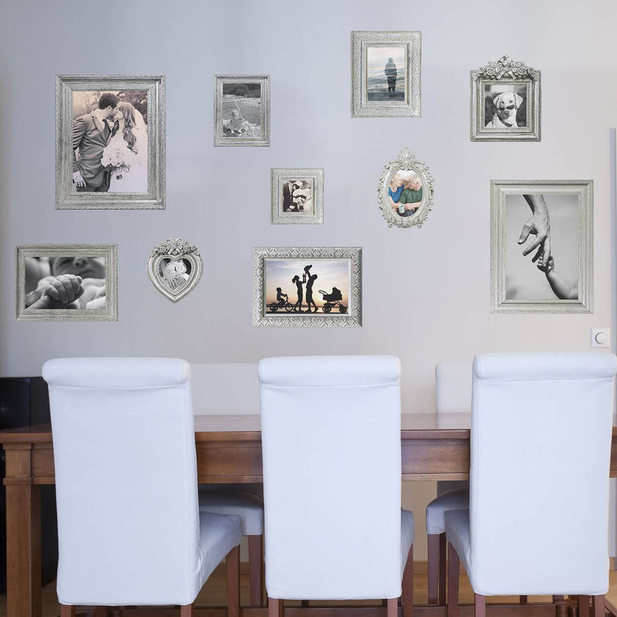 silver photo frames wall stickers by the binary box