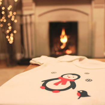 Organic Christmas Penguin Short Sleeve Babygrow