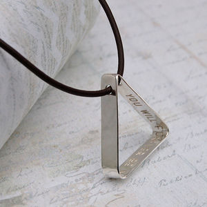 Mens Secret Message Silver Triangle Necklace - men's jewellery