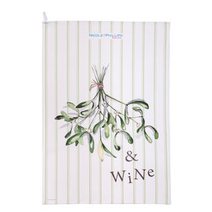Mistletoe And Wine Tea Towel