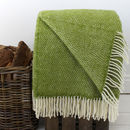 Bright Green Woven Wool Throw