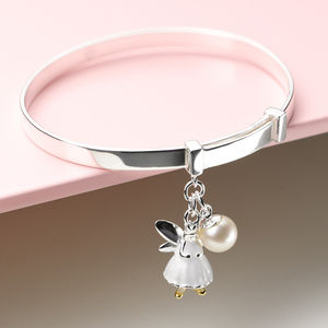 White Fairy Wish Expandable Christening Bangle