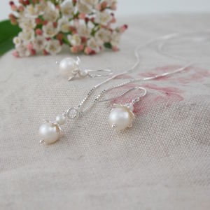 Blossom Ivory Pearl Pendant And Earring Set - wedding jewellery