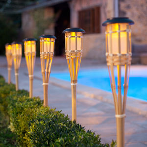 Set Of Six Solar Bamboo Torch Lights - lighting