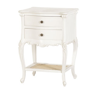 French Two Drawer Bedside In White