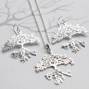 Silver Bonsai Tree Jewellery Set