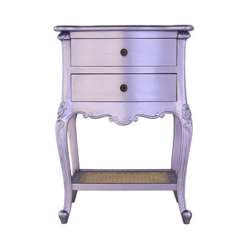 French Two Drawer Bedside In Lilac
