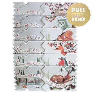 Pack Of Six Winter Woodland Christmas Cracker Cards