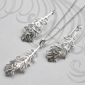 Silver Peacock Feather Jewellery Set - jewellery sets
