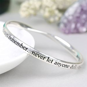 'Always Remember' Meaningful Word Bangle