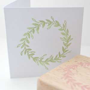 Mistletoe Wreath Hand Carved Rubber Stamp