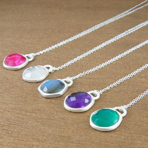 Amethyst Birthstone Silver Gemstone Necklace