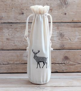 Red Stag Cotton Bottle Bag - gift bags & boxes