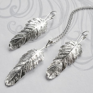 Silver Feather Drop Jewellery Set