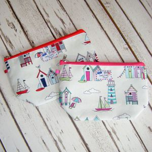Beach Huts Bunting Nautical Boat Makeup Wash Bag - make-up bags