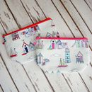 Beach Huts Bunting Nautical Boat Makeup Wash Bag