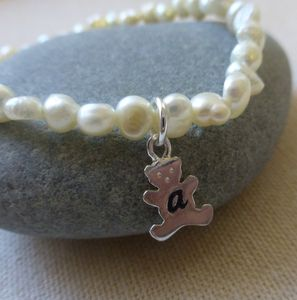 Silver Personalised Teddy And Pearl Bracelet - children's jewellery