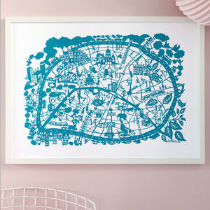 Paris Map Print - maps & locations