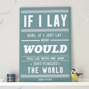 'Chasing Cars' Snow Patrol Print - canvas prints & art