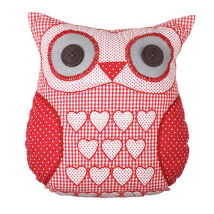 Vintage Owl Cushion In Red