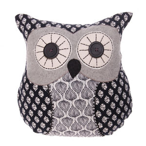 Vintage Owl Cushion In Black