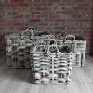 Square Wicker Log Baskets Toy Storage Set Three