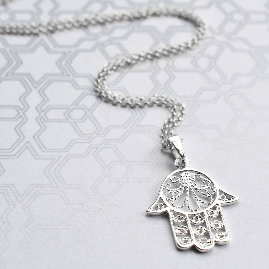 Silver fatima hand necklace by martha jackson sterling silver silver fatima hand necklace mozeypictures