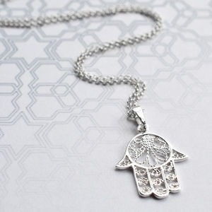 Silver Fatima Hand Necklace - lucky charm jewellery