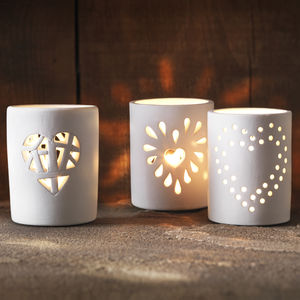 Heart Tealight Holders Set Of Three - candles & candlesticks