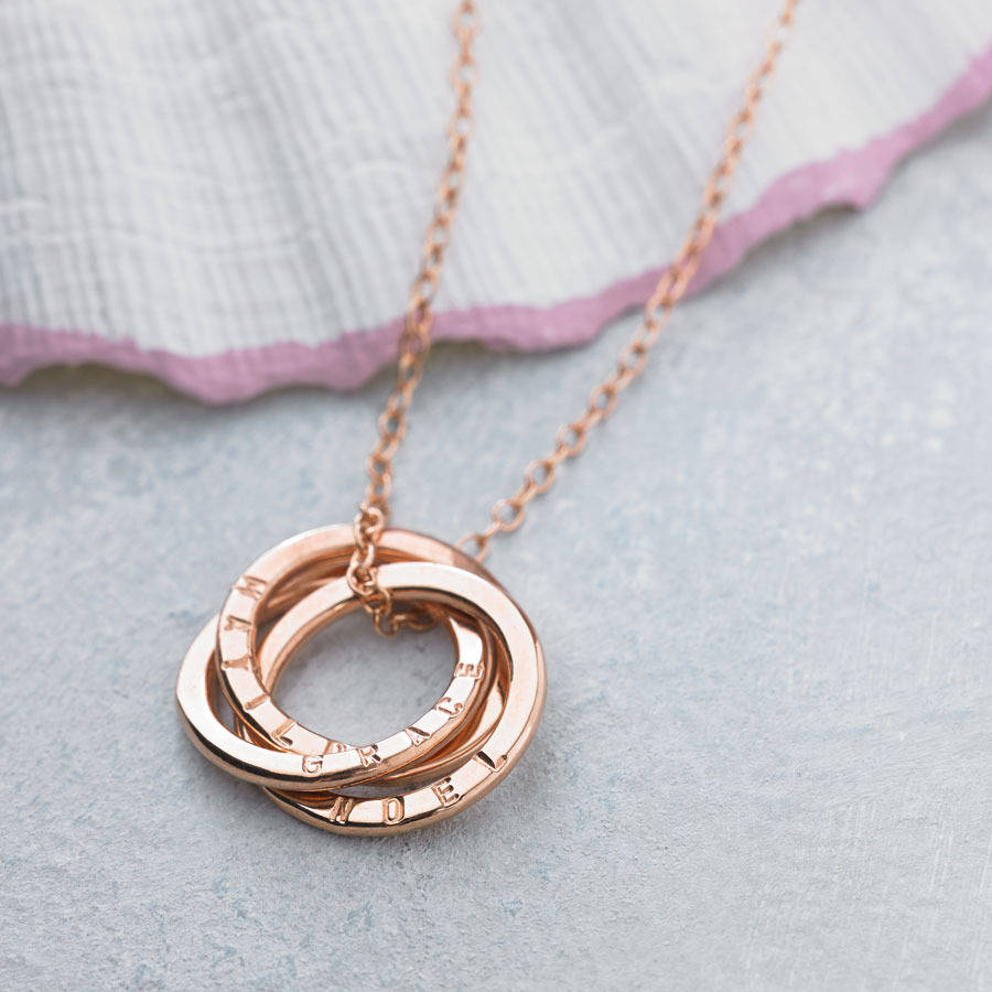 personalised rose gold russian ring necklace by posh totty designs