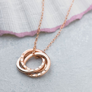 Personalised Rose Gold Russian Ring Necklace - 50th anniversary: gold