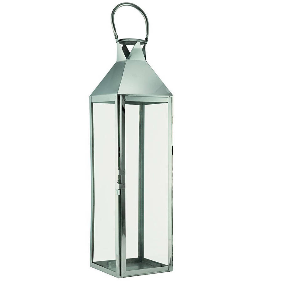 large silver hampton candle lantern by garden selections