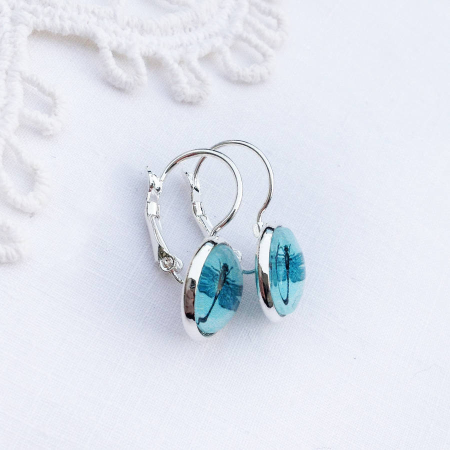 Silver French Style Turquoise Dragonfly Earrings