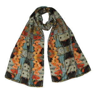 Floral Hen Digital Print Silk Scarf - hats, scarves & gloves