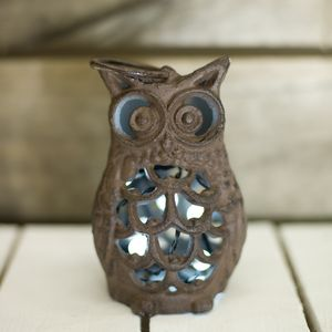 Cast Iron Owl Lantern - candles & home fragrance