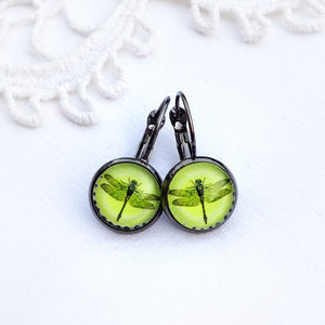 Citrus Yellow Dragonfly Earrings