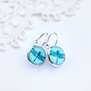 French Style Silver And Turquoise Dragonfly Earrings