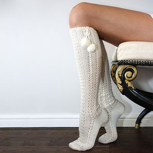 Hand Knitted Long Wool Pompom Socks Cream - socks
