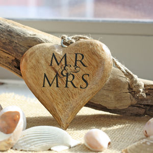 Mr And Mrs Hanging Wooden Heart