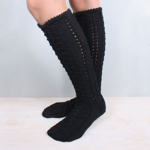 Hand Knitted Long Wool Socks Black - socks & tights