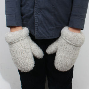 Childrens Merino Wool Pile Mittens - hats, scarves & gloves