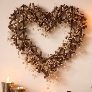 Heart Twig Wreath With Crystals And Pearls - hanging decorations