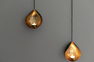 Hanging Gold And Black Tea Light Holder - candles & candle holders