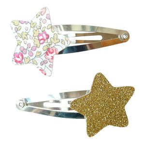 Pink Eloise Liberty And Glitter Star Hair Clips